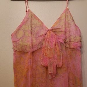 3/$25 NWOT Lg Sheer Dress Tank Pink/Orange/Yellow